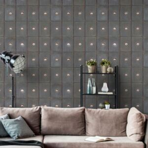 Industrial Metal Cabinets Wallpaper by Mind The Gap