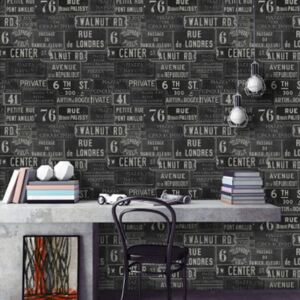 Vintage Signs Anthracite Wallpaper by Mind The Gap