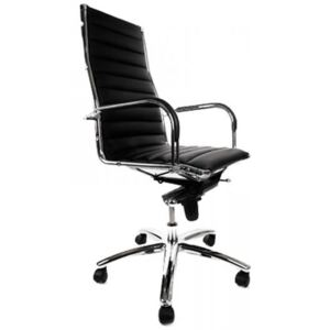 Professional Tall Leather Ribbed Office Chair