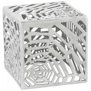 Modern Brushed Metal Cube Spider Web Style Side Table