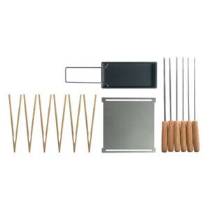 Barbecue set - / For Yaki barbecue - Plancha, raclette pan, skewers, tongs by Cookut Natural wood