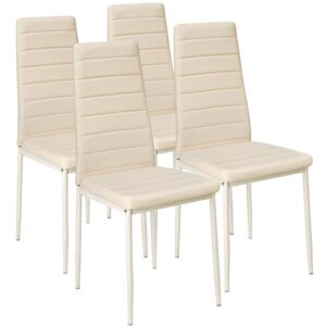 Tectake 401847 4 dining chairs synthetic leather - beige