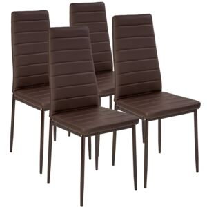 Tectake 401844 4 dining chairs synthetic leather - brown