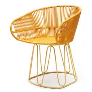 Circo Dining Armchair - / Hand-woven PVC threads by ames Yellow