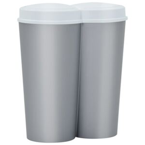 Duo Bin Trash Can Silver and White 50 L