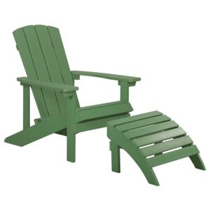 Garden Chair Green Plastic Wood with Footstool Weather Resistant Modern Style Beliani