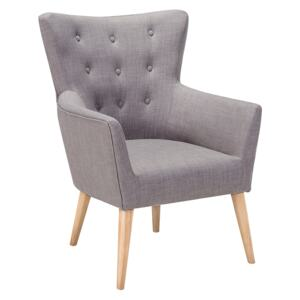 Armchair Grey Fabric Upholstery Buttoned Wooden Legs Retro Style Beliani