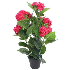 Artificial Hydrangea Plant with Pot 60 cm Red