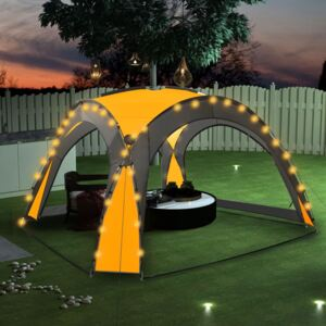 VidaXL Party Tent with LED and 4 Sidewalls 3.6x3.6x2.3 m Yellow