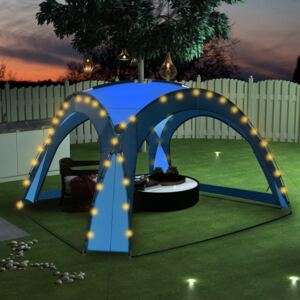 VidaXL Party Tent with LED and 4 Sidewalls 3.6x3.6x2.3 m Blue