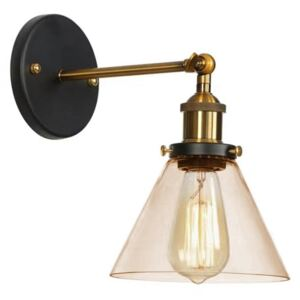 Industrial Glass & Brass Cone Wall Sconce Light, Amber Colour: Amb