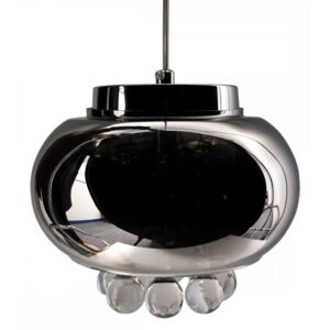 Glass Drum Chandelier Pendant Light with Teardrop Crystals, Grey Colou