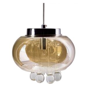 Glass Drum Chandelier Pendant Light with Teardrop Crystals, Amber Colo