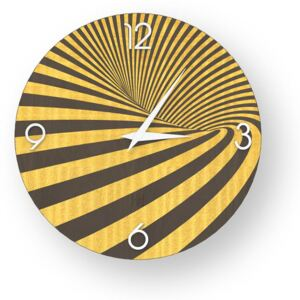 ABSTRACT OPTICAL INLAYED WOOD CLOCK - Colours