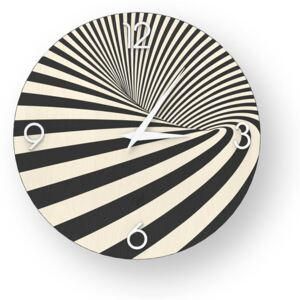 ABSTRACT OPTICAL INLAYED WOOD CLOCK - Cold