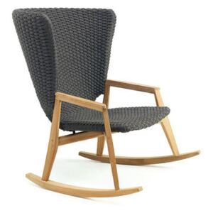Knit Rocking chair - / Synthetic rope by Ethimo Grey
