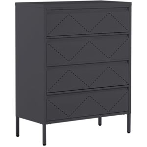 4 Drawer Chest Black Metal Steel Storage Cabinet Industrial Style for Office Living Room Beliani