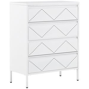 4 Drawer Chest White Metal Steel Storage Cabinet Industrial Style for Office Living Room Beliani