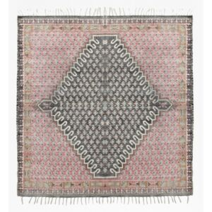 Large Poppy Field Rug - pink and grey