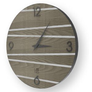 LINES ONE INLAYED WOOD CLOCK - Cold / 50 CM