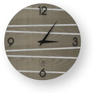 LINES ONE INLAYED WOOD CLOCK - Cold / 40 CM