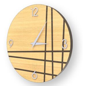 LINES TWO INLAYED WOOD CLOCK - Warm / 50 CM