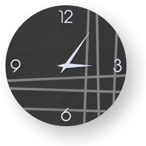 LINES TWO INLAYED WOOD CLOCK - Cold / 40 CM