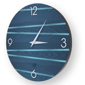 LINES ONE INLAYED WOOD CLOCK - Colours / 50 CM
