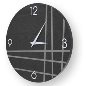 LINES TWO INLAYED WOOD CLOCK - Cold / 50 CM
