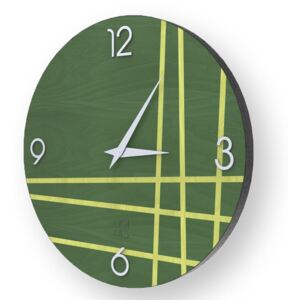 LINES TWO INLAYED WOOD CLOCK - Colours / 50 CM