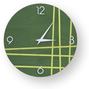 LINES TWO INLAYED WOOD CLOCK - Colours / 40 CM