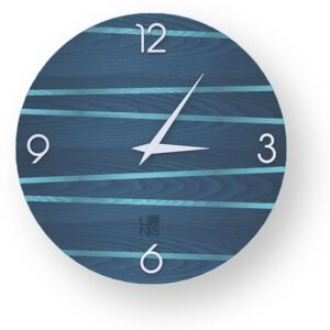 LINES ONE INLAYED WOOD CLOCK - Colours / 40 CM