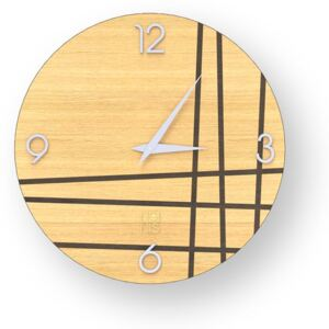 LINES TWO INLAYED WOOD CLOCK - Warm / 40 CM