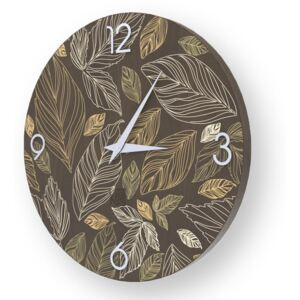 NATURE LEAVES INLAYED WOOD CLOCK - 50 CM / Warm