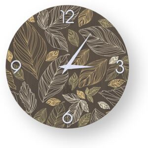 NATURE LEAVES INLAYED WOOD CLOCK - 40 CM / Warm