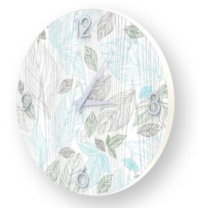 NATURE LEAVES INLAYED WOOD CLOCK - 50 CM / Colours