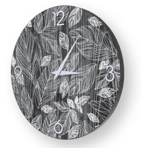 NATURE LEAVES INLAYED WOOD CLOCK - 50 CM / Cold