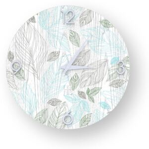 NATURE LEAVES INLAYED WOOD CLOCK - 40 CM / Colours