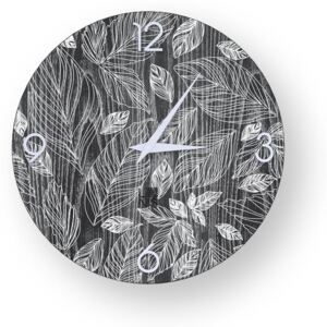 NATURE LEAVES INLAYED WOOD CLOCK - 40 CM / Cold