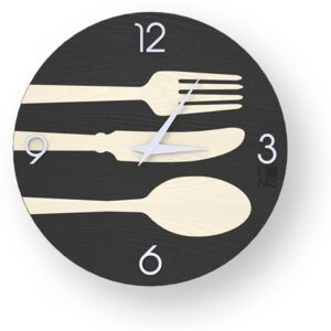 OBJECTS CUTLERY INLAYED WOOD CLOCK - 40 CM / Cold