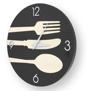 OBJECTS CUTLERY INLAYED WOOD CLOCK - 50 CM / Cold