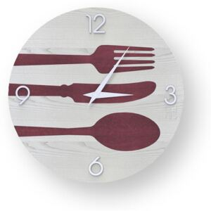 OBJECTS CUTLERY INLAYED WOOD CLOCK - 40 CM / Colours
