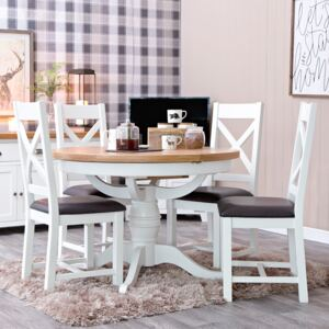Hampshire White Painted Oak Round Pedestal Extending Dining Table