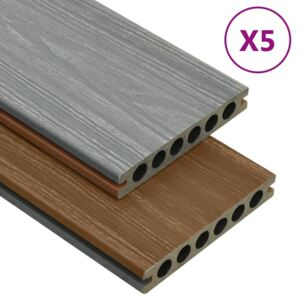 WPC Decking Boards with Accessories Brown and Grey 10 m² 2.2 m