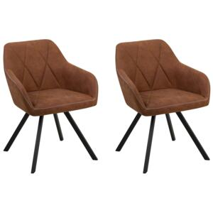 Set of 2 Dining Chairs Brown Fabric with Arms Quilted Backrest Black Metal Legs Retro Transitional Beliani