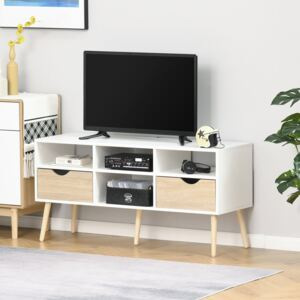 HOMCOM TV Cabinet Stand Unit for TVs up to 42'' Flat Screen with Drawer and Compartments, Entertainment Center for Living Room, Bedroom