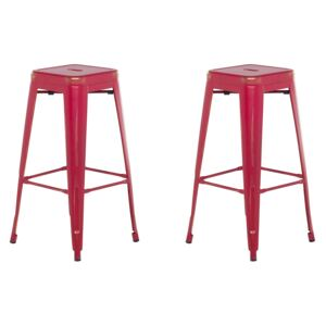 Set of 2 Bar Stools Red with Gold Metal 76 cm Stackable Counter Height Industrial Beliani