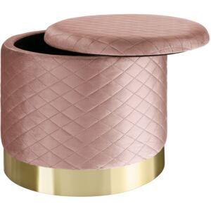 Tectake 403981 stool coco upholstered in velvet look with storage space - 300kg capacity - rose