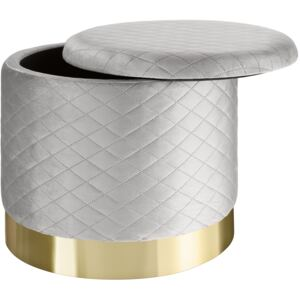 Tectake 403980 stool coco upholstered in velvet look with storage space - 300kg capacity - light grey