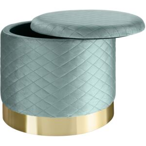 Tectake 403982 stool coco upholstered in velvet look with storage space - 300kg capacity - turquoise